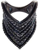 Lynn Ban 'Chevron' diamond rhodium silver ring