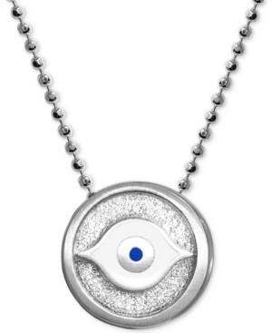 "Alex Woo Textured & Enamel Evil Eye 16"" Pendant Necklace in Sterling Silver"