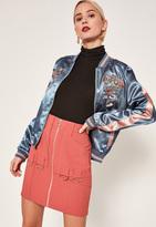 Missguided Pink Zip Through Ring Detail Crepe Skirt