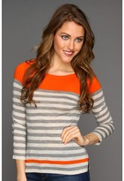 Autumn Cashmere Engineered Stripe Crew Top (Dew/Rock/Orange) - Apparel