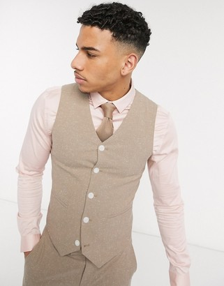 ASOS DESIGN wedding super skinny suit suit vest in camel nepp texture