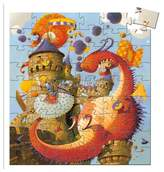 Djeco Boy's Silhouette Puzzles Vaillant And The Dragon 54-Piece Puzzle