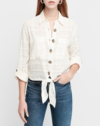 Express Textured Tie Front Button Utility Shirt
