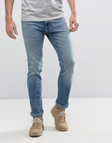 Hollister Skinny Jeans Mid Wash With Knee Slits Distress