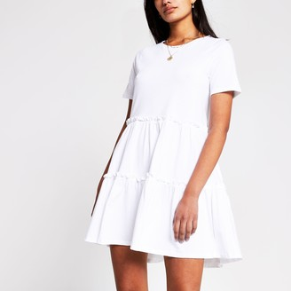 River Island Womens White t-shirt tiered smock dress