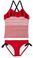 Classic Little Girls Ruffle Tankini Swimsuit Set-Compass Red Stripe