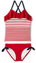 Lands' End Girls Slim Ruffle Tankini Swimsuit Set-Compass Red Stripe