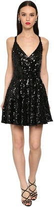 Dolce & Gabbana Flared Sequin Cross Back Mini Dress
