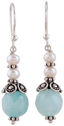 Novica Handmade Aventurine and Cultured Pearl Dangle Earrings, 'Crowning Glory'