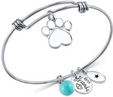 Unwritten Dog Paw Charm and Amazonite (8mm) Bangle Bracelet in Stainless Steel