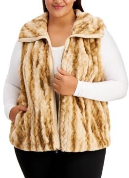 Calvin Klein Size Braided Faux-Fur Vest