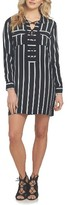 1 STATE Women's 1.state Stripe Lace-Up Shirtdress
