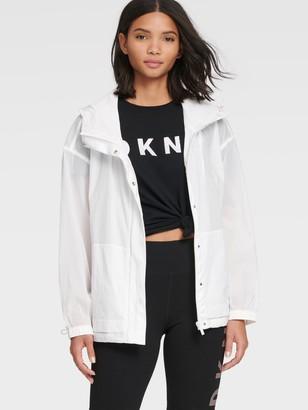 DKNY Women's Hooded Semi-sheer Jacket - White - Size XS