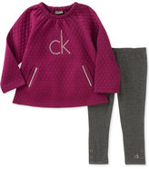Calvin Klein 2-Pc. Embellished-Logo Quilted Tunic & Leggings Set, Little Girls (4-6X)