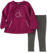 Calvin Klein 2-Pc. Embellished-Logo Quilted Tunic & Leggings Set, Toddler & Little Girls (2T-6X)