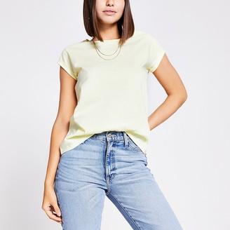 River Island Yellow short turn-up sleeve T-shirt
