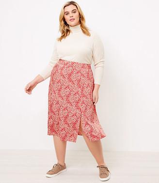 LOFT Plus Animal Spotted Midi Skirt