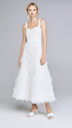 Marchesa Sleeveless Textured Tulle Tea Length Gown