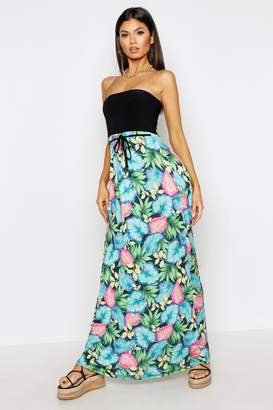 boohoo Hawaiian Palm Print Bandeau Maxi Dress