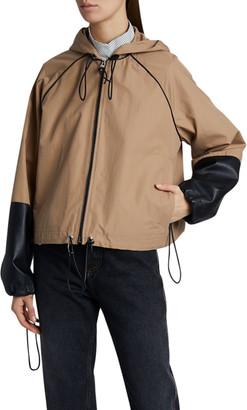Loewe Leather-Cuff Hooded Jacket
