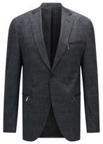 HUGO BOSS Cotton Patterned Blazer, Extra Slim Fit Ronen 38R Charcoal