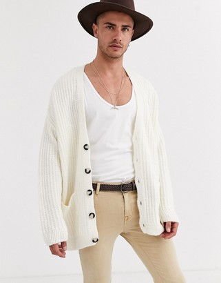 Asos DESIGN oversized ribbed cardigan in off white