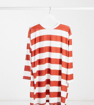 ASOS DESIGN Maternity oversized long sleeve t-shirt dress rust and white stripe