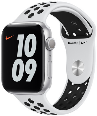 Apple Watch Nike Series 6 GPS, 44mm Silver Aluminum Case with Pure Platinum/Black Nike Sport Band - Regular