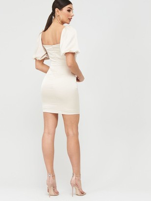 Missguided Stretch Satin Ruched Bust Puff Sleeve Mini Dress - Champagne