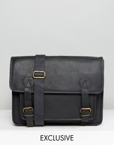 Reclaimed Vintage Inspired Leather Satchel In Black