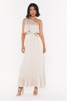 Nasty Gal Womens The Lucky One-Shoulder Satin Maxi Dress - Beige - 6, Beige