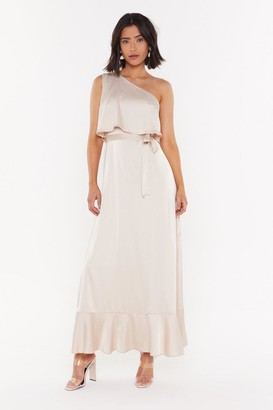 Nasty Gal Womens The Lucky One-Shoulder Satin Maxi Dress - Mocha