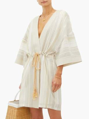 My Beachy Side - Kiskaf Gold-striped Open-front Cotton Robe - Womens - Tan