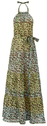 Juliet Dunn Halterneck Leopard-print Cotton Maxi Dress - Womens - Green Print