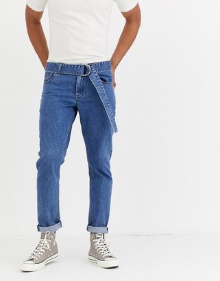 ASOS DESIGN stretch slim jeans in flat mid blue with self belt