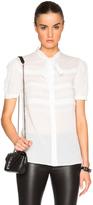 Saint Laurent Short Sleeve Ruffle Blouse