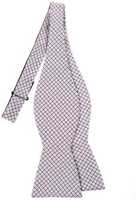Retreez Check Textured Woven Microfiber Self Tie Bow Tie - Silver