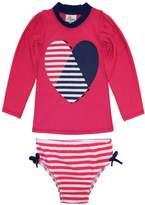 Sweet & Soft Little Girls Long Sleeve Heart & Stripes Swim Rashguard Bikini Set