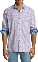 Robert Graham Linear Long-Sleeve Sport Shirt, Brick
