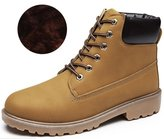 DADAWEN Unisex Men's Lace Up Fashion Classic Ankle Boots with Two Choices(for Fall or Winter)-Yellow 11 US