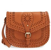 Sole Society 'Kianna' Perforated Faux Leather Crossbody Bag - Brown