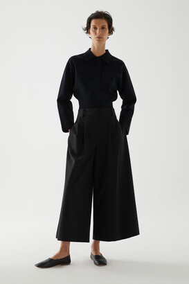 Cos Cotton Pleated Wide-Leg Trousers