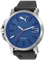 Puma Ultrasize 50 Unisex Quartz Watch with Blue Dial Analogue Display and Black PU Strap PU103461014