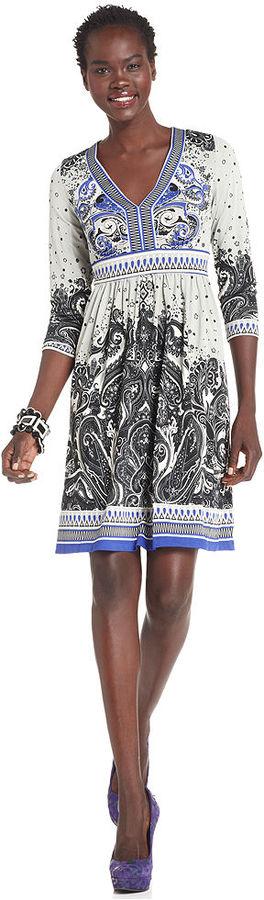 ECI Dress, Three-Quarter-Sleeve Paisley-Print Empire-Waist