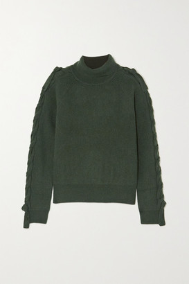 J.W.Anderson Cable-knit Alpaca And Yak Wool-blend Turtleneck Sweater - Army green