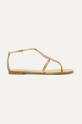 Giuseppe Zanotti Josie Embellished Mirrored-leather Sandals - Gold