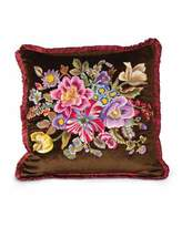 "Jay Strongwater Dutch Floral Pillow, 20""Sq."