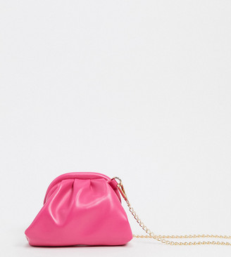 Glamorous Exclusive mini slouchy pillow clutch bag in pink with detachable strap
