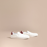 Burberry Perforated Check Leather Slip-on Trainers , Size: 45, White