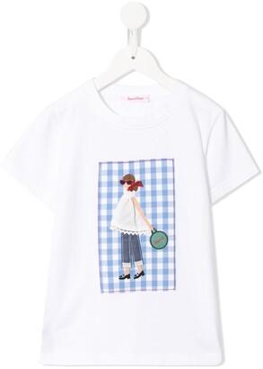 Familiar short sleeve applique patch T-shirt